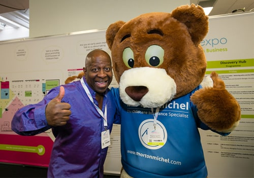 Dave Benson Phillips and Morton the bear
